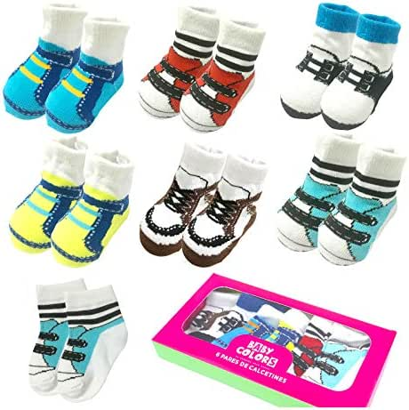 6 Pairs 0-10 month Baby Newborn Ankle Sock Toddler Crew Walkers Bootie Cute Infant Socks