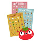 Simple Happy Kitchen Plant-Based Vegan 3 Posters Bundle: Calcium, Iron and Protein Sources