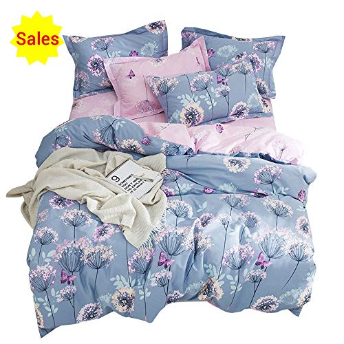 Floral Print Set - OTOB Flower Girls Twin Bedding Duvet Cover Sets Cotton for Kids Toddler Women Cartoon Butterfly Dandelion Print Floral Reversible Teen Bedding Sets Twin Fairy Princess Pink Purple