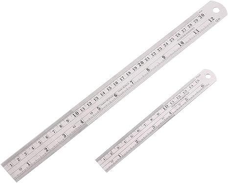 EDATOFLY 30 CM y 15 CM Regla Metalica Reglas de Acero Inoxidable con Tabla de Conversión (6 y 12 Pulgadas): Amazon.es: Bricolaje y herramientas