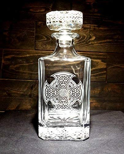 Celtic Knot Etched Crystal Whiskey - Knots Continuous Band Celtic