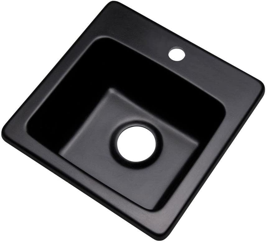 Thermocast 17199Q Manchester Composite Granite Prep Sink with One Hole, 16-Inch, Black