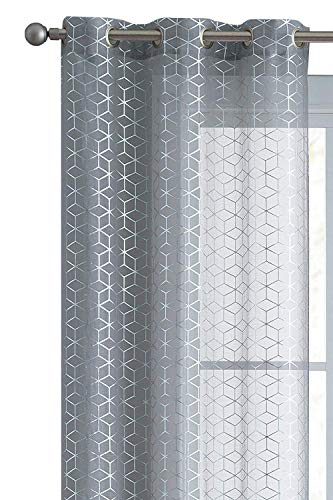VCNY Home 2 Pack Aiden Metallic Geometric Chic Matte Sheer Voile Grommet Window Curtains - Assorted Sizes & Colors (Gray, 96 in. Long)