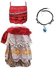 Moana Vaiana Kostuum Fancy Dress Up Outfit voor Meisjes Kids Halloween Verjaardag Feestdagen Cosplay Kleding