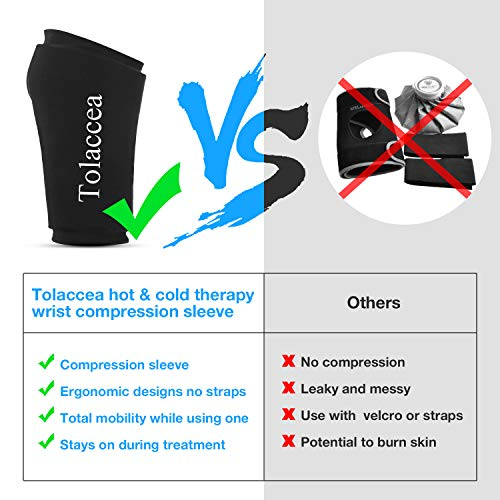 Wrist Ice Compression Sleeve Wrist Ice Pack Wrap Hot & Cold Therapy for Pain Relief Wrist Gel Cold Pack for Carpal Tunnel Tendonitis Injuries Swelling Rheumatoid Arthritis Bruises & Sprains(M)