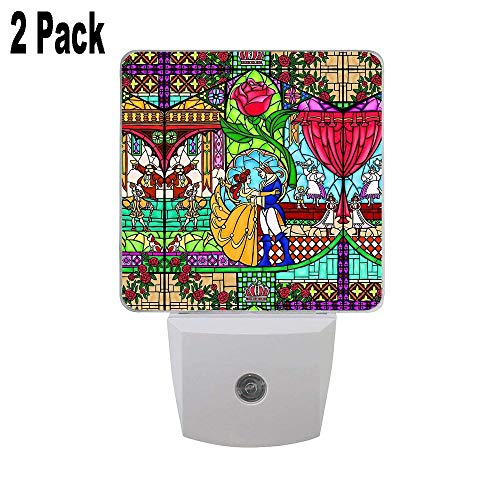 Patterns of The Stained Glass Window 2PCs LED Night Lights with Smart Dusk to Dawn Sensor, Plug in Night Lights Great for Bedroom Bathroom Hallway Stairways Or Any Dark Room