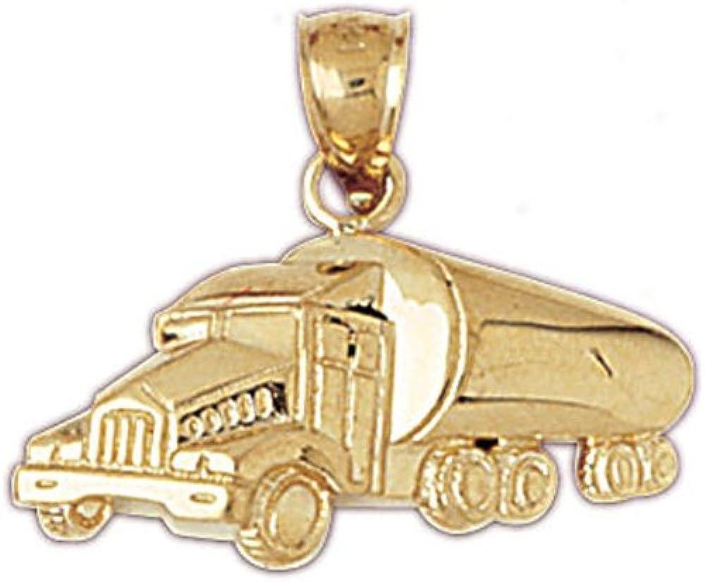 14k Yellow Gold Cement Truck Pendant