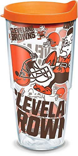 (Tervis 1302764 NFL Cleveland Browns All Over Insulated Tumbler with Wrap and Orange Lid, 24oz, Clear)