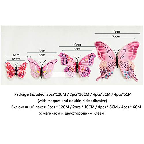Amazon.com: Batop 12Pcs Double Layer 3D Butterfly Wall Sticker - On The Wall - Home Decor Butterflies for Decoration - Magnet Fridge Stickers (Chinese ...