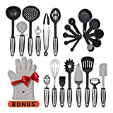 Kitchen Utensils 25 Pcs Set with Kitchen Tools and Kitchen Gadgets Made of Strong Stainless Steel and Nonstick Nylon - Heat Resistant - Everything You Need Cookware Set Plus Bonus Silicone Oven Glove