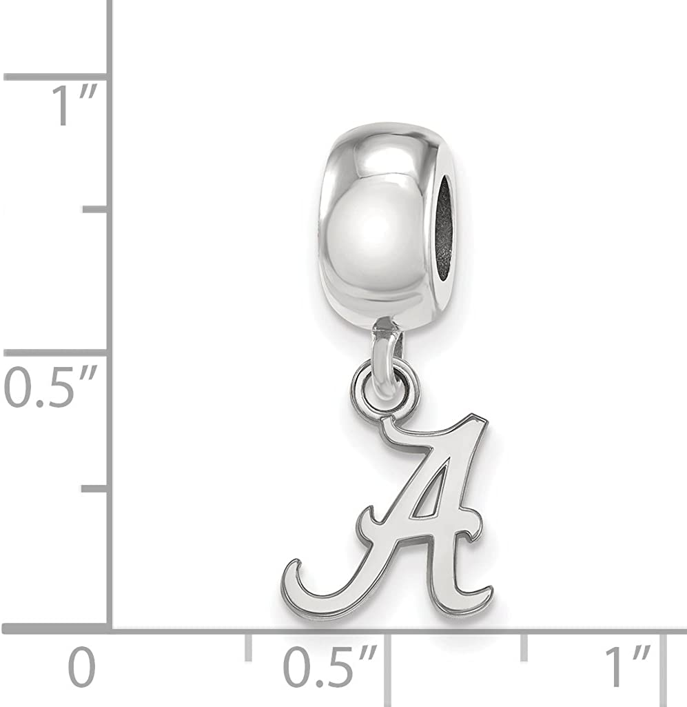 University of Alabama Crimson Tide School Letter Dangle Bead Charm in Sterling Silver 10x9mm