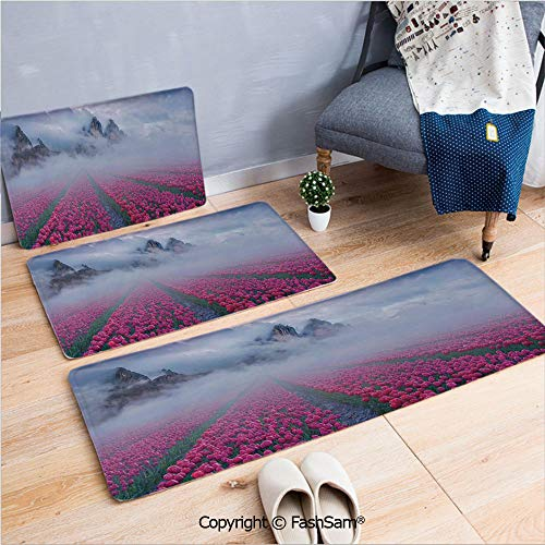 (FashSam 3 Piece Flannel Bath Carpet Non Slip Spring Landscape with Tulip Fields Fog Hiding Mountain On The Horizon Picture Front Door Mats Rugs for Home(W15.7xL23.6 by W19.6xL31.5 by W31.4xL47.2))