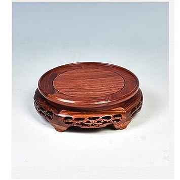 Base redonda para jarrón de adorno, porta macetas de madera maciza para plantas pequeñas, ...