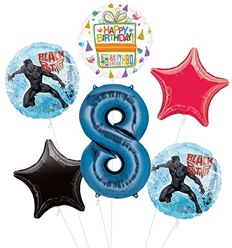Black Panther 8th Birthday Party Supplies Balloon Bouquet Decorations by Mayflower