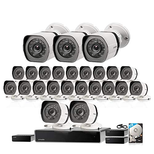 Zmodo 32 Channel 1080P HDMI NVR Security System 24 x720P IP Outdoor/Indoor Surveillance Camera, w/sPoE Repeater for Flexible Installation & Extension, Customizable Motion Detection, w/2TB Hard Drive