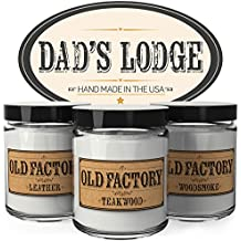 Scented Candles for Men - Dad's Lodge - Set of 3: Teakwood, Leather, Woodsmoke - 3 x 4-Ounce Soy Candles - Each Votive Candle is Handmade in the USA with only the Best Fragrance Oils