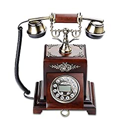 Retro/Antique/Solid Woodtelephone/Key Dialing/Metal Handset, Hand-painted, Carved Wired Telephone Made Of Brass And Solid Wood(Size: 22 31cm) fixed Landline Telephone beautify (Color : B)