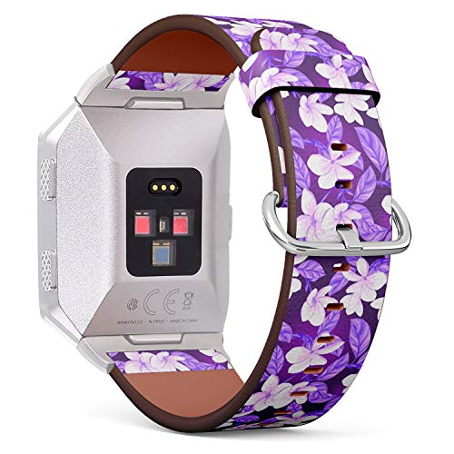 Compatible with Fitbit Ionic Leather Watch Wrist Band Strap Bracelet with Stainless Steel Clasp and Adapters (White - Clasp Plumeria