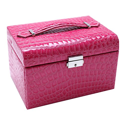 S-ssoy Jewelry Box Synthetic Leather 2-Layer Large Capacity Travel Portable Display Storage Organizer Case Holder with Lock and Mirror for Necklace Earrings Bracelet Rings Watches Brooches,Rose