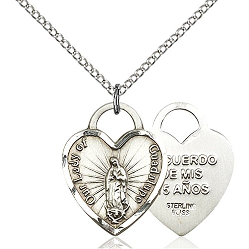 Bliss Sterling Silver Our Lady of Guadalupe Heart Pendant...