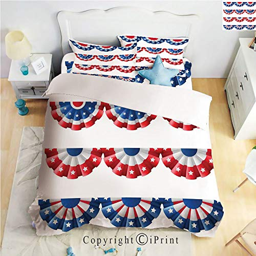 Homenon Luxury 4-Piece Bed Sheet,Hide Zipper Closure,Flag Round Bunting Election Ornament Politic Union Ribbon Event Pattern,Blue Red,King ()