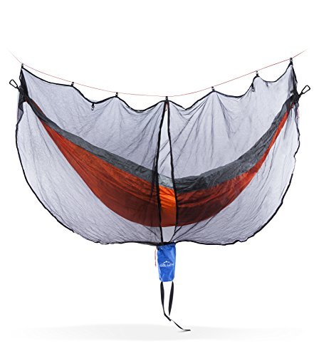 Hammock Bug & Mosquito Net Cover: Fortress Mesh Hammock Nets Repel & Keep Out Mosquitoes, No See Ums & Other Bugs - Fits Single or Double Camping & Travel Hammocks - 11' x 6'' Netting with Carry Bag by Wild Life Outfitters