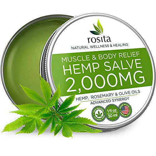 Pain Relief Hemp Oil Salve - 2000 MG - Max Strength & Efficiency - 100% Natural Ointment - Hemp Extract for Arthritis, Knee, Joint & Back Pain - Made in USA - Hemp Balm for Inflammation & Sore Muscles ()