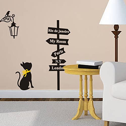 Fablcrew Sticker mural Street light street sticker sticker chat noir avec noeud papillon jaune 57 /× 29cm sticker mural citation