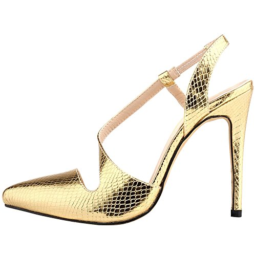 fereshte Women's Shoe High Heeled Snake Skin Dress Pump Sandals Candy Color SW-Golden SH9mO