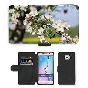 PU LEATHER case coque housse smartphone Flip bag Cover protection // M00135270 Flores de la primavera de Apple Bee // Samsung Galaxy S6 (Not Fits S6 EDGE)