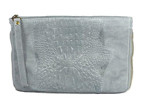 Coole graue Leder Umhängetasche Wildleder mit angesagter Prägung des Leders in Krokodilsleder Optik - mit Leder Schulterriemen Echtleder in Taschenfarbe - Maße 30 x 20 cm