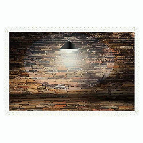 (Rustic Home Decor,Rectangle Polyester Linen Tablecloth/Dark Cracked Bricks Ceiling Lamp Spot Light Life Building Urban City Image/for Dinner Kitchen Home Décor,60