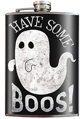 Have Some Boos! Paranormal Ghost Spooky Goth Goofy Halloween Costume Novelty - 8oz Stainless Steel Flask - come in a GIFT BOX - by Trixie & Milo ()