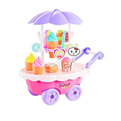 Vpicuo New Kids Children Girls Ice Cream Cart Toy Set DIY Assembly 28pcs Kitchen Playsets: Home & Kitchen