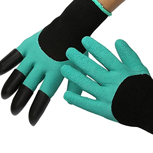bojun Garden genie gloves by , with built in claws for digging planting nursery plants, Garden gloves easy to dig and plant safe for rose pruning