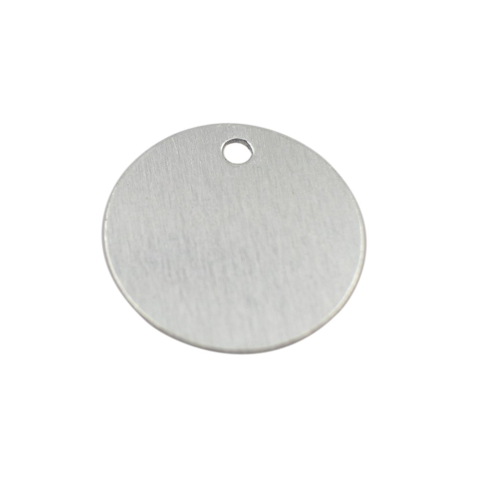 GazeKu blank stamping tags, W/Hole, Aluminum .032 Inch (20 Ga.) (1 Inch Round) (Pack of 25)