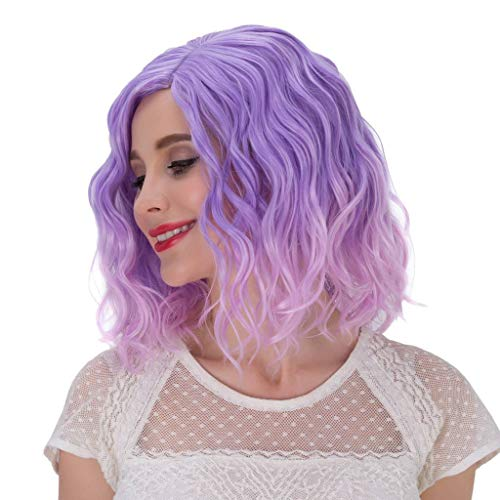Alacos Fashion 35cm Short Curly Full Head Wig Heat Resistant Daily Dress Carnival Party Masquerade Anime Cosplay Wig +Wig Cap (Purple Ombre to -
