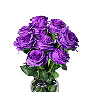 DuHouse 10Pcs Fake Roses Artificial Silk Flowers Bridal Bouquet Arrangement Wedding Party Home Decor(Purple Long Stem) 3