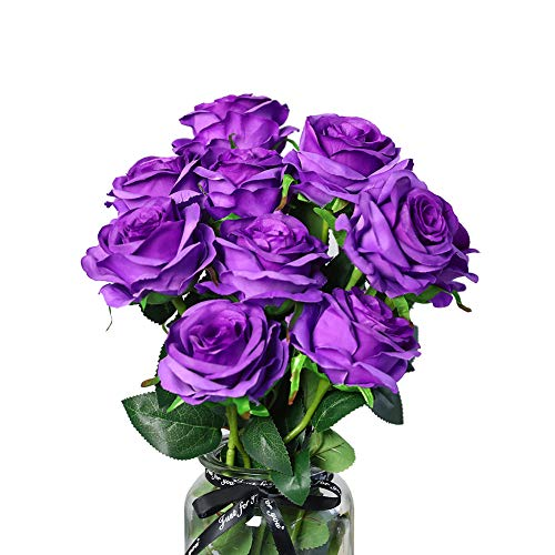 - DuHouse 10Pcs Fake Roses Artificial Silk Flowers Bridal Bouquet Arrangement Wedding Party Home Decor(Purple Long Stem)