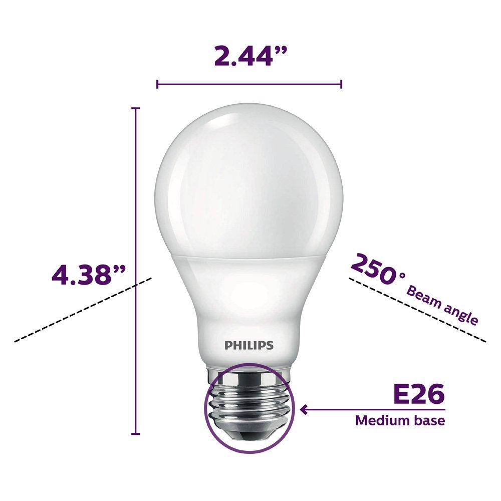 4-Pack Daylight 60-Watt Equivalent 9-Watt 5000-Kelvin Frosted E26 Base Philips LED Dimmable A19 Light Bulb: 800-Lumen