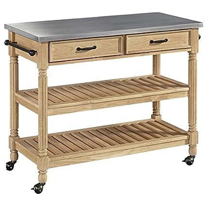Home Styles 5319 95 Savannah Kitchen Cart, Stainless Steel