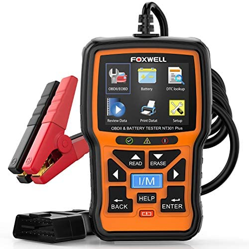 FOXWELL NT301 Plus Car OB2 Scanner & 12V Battery Tester,2 in 1 Diagnostic Tool EOBD OBDII Scan Tools,Smog Test O2 Sensor Automotive Scanner,Check Engine Code Reader for All OBDII Cars [2021 Version]