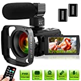 Ultra HD Video Camera Camcorder with Microphone 1080P 30FPS 24MP Vlogging Digital Camera with Lens Hood 3.0 Inch Screen 16X Digital Zoom Camcorder Recorder YouTube Webcam Camera for Live Streaming