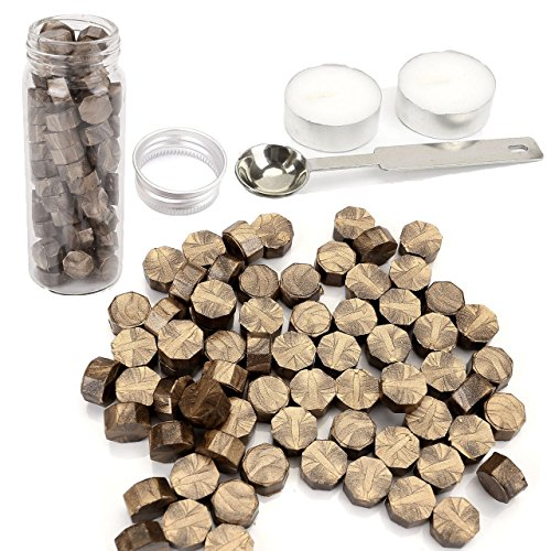 Bronze Wax Seal Beads, Yoption 150 Pieces Octagon Sealing Wax Sticks Beads with Candle Melting Spoon for Wax Seal Stamp (Bronze)