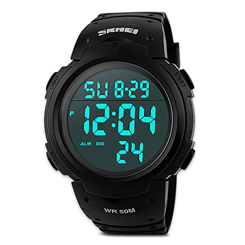 MJSCPHBJK Mens Digital Sports Watch, Waterproof LED Screen Large Face Military Watches and Heavy Duty Electronic Simple Army Watch with Alarm, Stopwatch, Luminous Night Light – Black