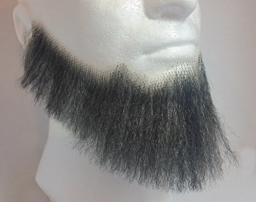 Theatrical Beards (Full Character Beard DARK GREY - 100% Human Hair - no. 2024 - Spirit Gum Included - REALISTIC! Perfect for Theater and Stage - Reusable!)