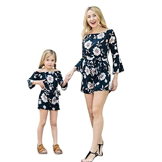 Mother & Kids Mother Daughter Clothes Parent-child Rompers Navy Blue Stripes Off Shoulder Ruffles Jumpsuit Family Matching Outfits Baby Girl
