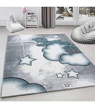 Kinderteppich Kinderzimmer Teppich Katze Sternmotiv Grau-Wei/ß-Pink 80x150 cm