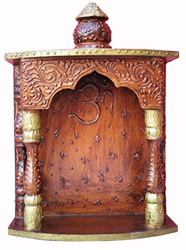 A Temple Made By Wood with Emboss Work and Om Symbol, Must for Every Indian Home Temple / Mandir (Mandir Indian)