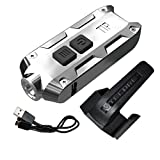 Nitecore TIP 2017 SS Stainless Steel Edition 360 Lumen USB Rechargeable Keychain Flashlight & LumenTac USB Charging Cable (Glacier)